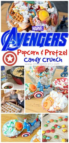 Who needs plain old movie theater butter popcorn when you can make this sweet and salty Avengers Infinity War popcorn crunch for a snack instead! Super easy to make, and you can use air popped or microwave popcorn! Party Treats, Party Snacks, Inside Out Characters, Disney Challenge, Butter Popcorn, Family Movie Night, Night Snacks, Avengers Infinity War, Sweet And Salty