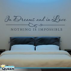 Muursticker Nothing is Impossible Bedroom Quotes, Wall Quotes, New Beginnings, Fun Crafts, Qoutes, Bed Pillows, Pillow Cases, Sweet Home, New Homes