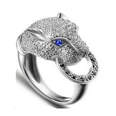 Cool Animal Rhinestone Blue Eye Crystal  Mens Sterling Silver Rings
