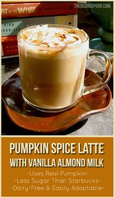 Homemade Pumpkin Spice Latte with Vanilla Almond Milk therisingspoon -- TIP: use coconut milk whipped cream on top to keep it dairy free! Homemade Pumpkin Spice Latte, Pumpkin Spiced Latte Recipe, Vegan Pumpkin, Starbucks Pumpkin Spice Latte, Smoothies, Smoothie Drinks, Smoothie Recipes, Dairy Free Recipes, Vegan Recipes