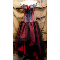 Prom Burlesque Corset Costume Steampunk gypsy dress with tulle tutu... ❤ liked on Polyvore featuring costumes, prom halloween costumes, gypsy halloween costume, red and black halloween costumes, steam punk costume and gypsie costume