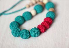 Emerald Green and Crimson Crochet Nursing Necklace-Teething