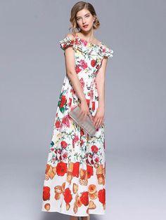 Falbala Boat Neck Off-The-Shoulder Print Maxi Dress
