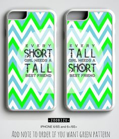 Best Friends iPhone Cases with short tall quote and chevron design.  This is hard plastic phone case provides lightweight protection for your phone and looks great too.  Rubber silicon cases covers top and bottom (for iphone6/6S)  -- ATTENTION with Payment Method --  Unfortunately we can not be able to accept Paypal payments for awhile in Turkey so we need to proceed payments through Shopier method which %100 secure.  After you put your order please check your conversation box and your email…