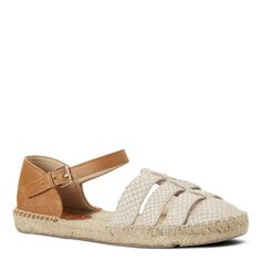 A warm-weather obsession, espadrilles epitomize casual summer chic. Intome features an adjustable slender ankle strap and is set on an earthy espadrille sole. Espadrilles aren't just for the beach -- wear them with ripped denim, leggings, maxi dresses, the list is endless. Leather upper. Man-made lining and sole. Padded insole for all-day comfort. Flat. Imported.