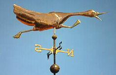 Goose Weather Vane, Running by West Coast Weather Vanes.  This Running Goose Weathervane is a double sided weathervane design, which means it looks the same when viewed from either side.  We also offer many bird designs.