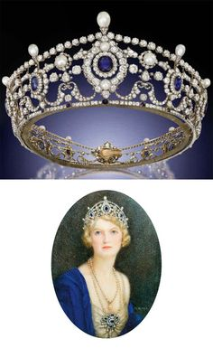 THE PORTLAND ANTIQUE SAPPHIRE, DIAMOND AND NATURAL PEARL TIARA. Designed as a series of twelve graduated cushion-shaped sapphire and old-cut diamond clusters to the openwork frame of diamond-set swag and husk motifs, embellished with bouton-shaped pearls and diamond line borders to the pear-shaped pearl finials and sapphire collet accents, mounted in silver and gold, Price Realized $1,188,239 Estimate $388,750 - $466,500