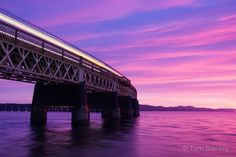Tay Rail Bridge, Glorious sunset tonight with the Inverurie train passing over