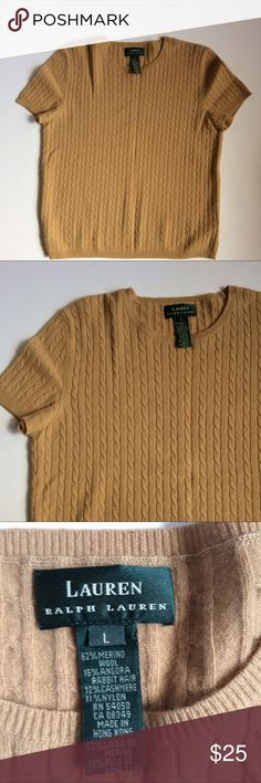 Ralph Lauren Short Sleeve Sweater Excellent used condition. 62% merino Wool, 15% Angora rabbit hair 12% nylon Lauren Ralph Lauren Sweaters