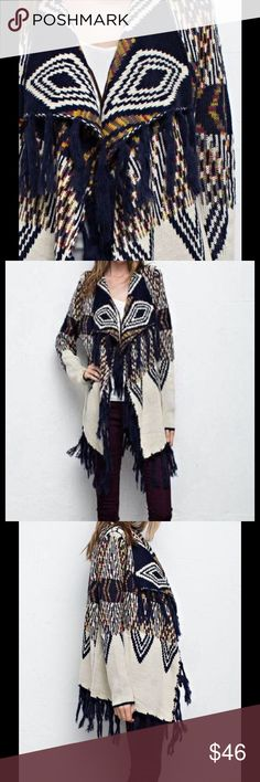 NEW ARRIVAL-Pattern Fringe Sweater Cardigan This cardigan is a show stopper for the Fall and Winter Season!  Long cardigan Features fringe hem with medium weight fabric.   50% ACRYLIC, 50% POLYAMIDE Sweaters Cardigans