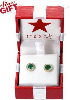 Brasilica by EFFY Emerald (3/4 ct. t.w.) and Diamond (1/8 ct. t.w.) Button Stud Earrings in 14k Gold on shopstyle.com
