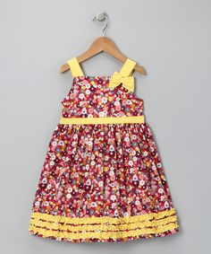 A striking print and bold colors make this the perfect dress for any girly girl. In comfy cotton, this piece is dressed up with a slight swing in the skirt. 100% cottonMachine washImported