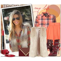 """tricky trend faux fur vest"" by anna-anica on Polyvore"