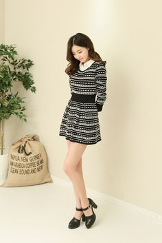 Ribbon stripe knit ops