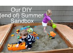 (already have a sandbox, but LOVE the door lid on this design)  Step by step instructions on how to build a sandbox the kids will play with for hours!