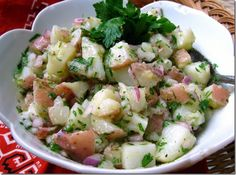 No mayo potato salad! I just made this today for our cook out and everyone loved it. I added pickle juice and any extra vinegar, onion, pepper, ect. that I felt it needed and it was so good!
