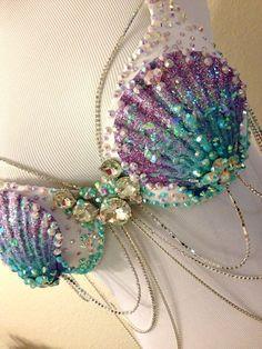 Aqua & Lilac Mermaid by TheLoveShackk on Etsy - Style - Costume Mermaid Bra, Mermaid Crown, Mermaid Outfit, Mermaid Tails, Mermaid Style, Dance Costumes, Halloween Costumes, Mermaid Costumes, Woman Costumes
