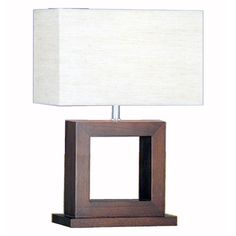 Searchlight Cosmopolitan Wood Square Modern Bedside Study Home Office Table Lamp Wooden Table Lamps, Wood Table, Home Office Table, Square Lamp Shades, Contemporary Table Lamps, Wood Square, Light Fittings, Fabric Shades, Light Table
