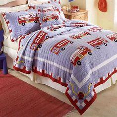 Pem America Fire Truck Boys Quilt with Pillow Sham - http://www.theboysdepot.com/pem-america-fire-truck-quilt-with-pillow-sham.html