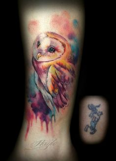 Watercolor style owl tattoo on ankle. Cover up by Haylo at Lucky Bamboo Tattoo Www.luckybambootattoo.com