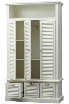 Amazing Add our Shutter Closed Locker Storage to your entryway Three locker style louvered doors