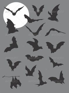Flying Bats Silhouettes - Animals Characters