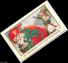 C681 SANTA & HELPER HAVE SNOWBALL FIGHT FROLICKING CHRISTMAS 1908 UC POSTCARD #Christmas