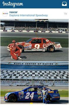 Father and son, Bill and Chase Elliott at Daytona Chase Elliott Nascar, Real Racing, Auto Racing, Jr Motorsports, Nascar Race Cars, Classic Race Cars, Daytona International Speedway, Nascar Diecast, Vintage Race Car