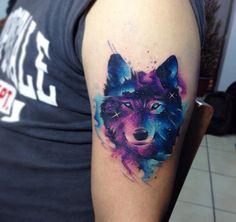Wolf Portrait with Space Clouds and Stars | Best tattoo ideas & designs