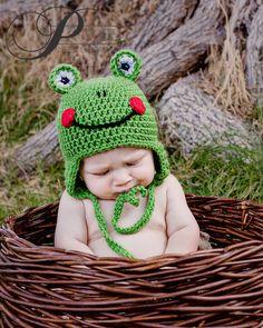 Custom Crochet Frog Hat by CricketCreations on Etsy, $24.00