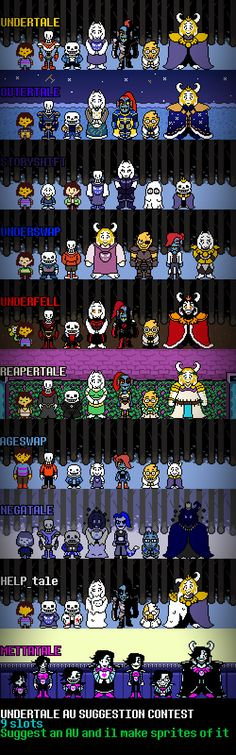 Note: I am not the author!!! Please use the visit button to go to the Artist's Tumblr    Sprites of various Undertale AUs Source Notes:There was a contest on my deviantart page started about a few days ago, in which people would request me to make sprite edits of different Undertale AUs, and whats that at the bottom, yep its...