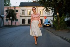 vintage skirt with a basic top