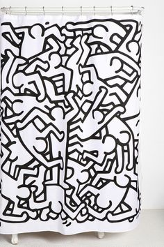 Would have loved this Keith Haring Shower Curtain from #UrbanOutfitters in college!