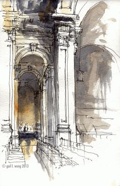 drawings and sketches Watercolor Architecture, Architecture Sketchbook, Watercolor Landscape, Architecture Art, Classical Architecture, Urban Sketchers, Watercolor Sketch, Watercolor Paintings, Watercolor Trees