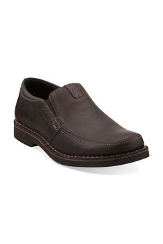 Clarks Doby Double Gore Casual Slip On In Dark Brown -