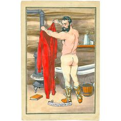 Union Suit . an original painting in victorian style by Felix d'Eon of a handsome, muscular, nude man. naked, edwardian, vintage, antique illustration, gay art