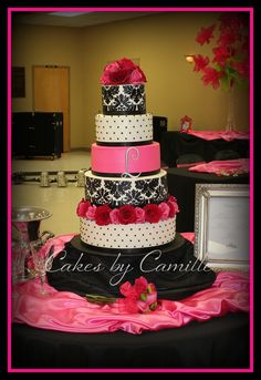 Hot pink, black/white Damask Cake. Beautiful cake! I might even have someone make this without the flowers