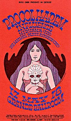 This concert postcard is from 5-17/8-68. at the grande ballroom..The bands performing were, MAY 17/FRIDAY..1968. --Procol Harum. --Influenc...