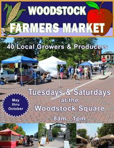 Woodstock, IL Open on Tuesdays and Saturdays from 8am until 1pm from May through October. The Market then moves indoors at the McHenry County Farm Bureau building at 1102 McConnell Rd. in Woodstock, just off Ro… Click flyer for more >>