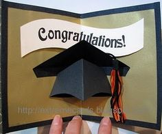 Cool pop-up Graduation card   -- silver background, purple and green tassel