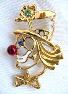 JJ VINTAGE PARTY CLOWN WITH LARGE WHITE RHINESTONE EYES PEWTER BROOCH PIN