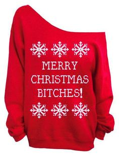 Charming Skew Neck Letter and Snowflake Printed Christmas Sweatshirt For Women