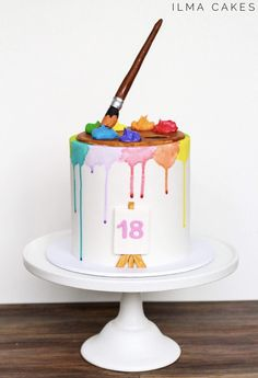 Ilma cakes Warrnambool An artistic cake for an artistic birthday girl with watercolour drips, Art Birthday Cake, Themed Birthday Cakes, Themed Cakes, Crazy Birthday, Artist Birthday, Girl Birthday, Painter Cake, Artist Cake, Gravity Defying Cake