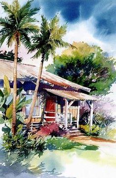 New Palm Tree Drawing Watercolors Ideas Watercolor Architecture, Watercolor Landscape Paintings, Landscape Sketch, Landscape Art, Beach Landscape, Water Colour Landscape, Palm Tree Drawing, Hawaiian Art, Guache