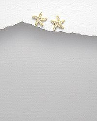 Sterling Silver Earrings Plated With 14k Yellow Gold