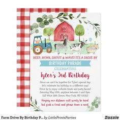 Shop Farm Animal Drive By Baby Shower Parade Invitation created by LittlePrintsParties. Farm Party Invitations, Baby Shower Invitations For Boys, Baby Shower Themes, Shower Ideas, Farm Animal Birthday, Farm Birthday, Happy Birthday, Baby Shower Supplies, Party Supplies