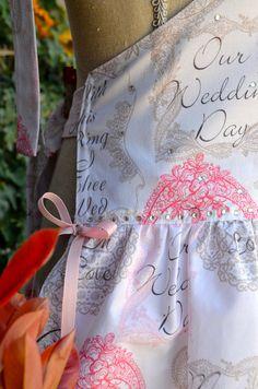Womens Wedding Print Apron Cake Cutting Apron by OliviabyDesign Retro Apron Patterns, Wedding Prints, Cottage Chic, Crystal Rhinestone, Hair Clips, Cake, Pink, Beautiful, Etsy