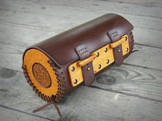 Hand sewn motorcycle Wood-Leather fork bag with carved by ShikShok