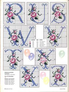 Rose Alphabet cross stitch alphabet 3 of 3 Cross Stitch Letters, Cross Stitch Love, Cross Stitch Needles, Cross Stitch Flowers, Cross Stitch Charts, Cross Stitch Designs, Embroidery Alphabet, Embroidery Monogram, Ribbon Embroidery