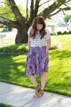 pattern mixing with owls-Lularoe Madison Owl Skirt @lularoe: Modest Summer Outfit